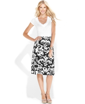 INC International Concepts Skirt, Asymmetrical-Pleated Printed A-Line