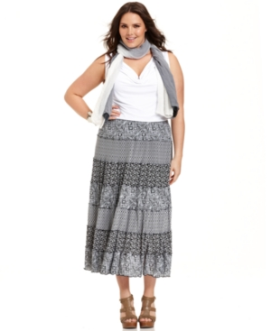 Style&co. Plus Size Skirt, Printed Tiered Maxi