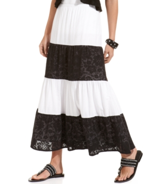 Style&co. Skirt, Striped Lace Tiered Maxi