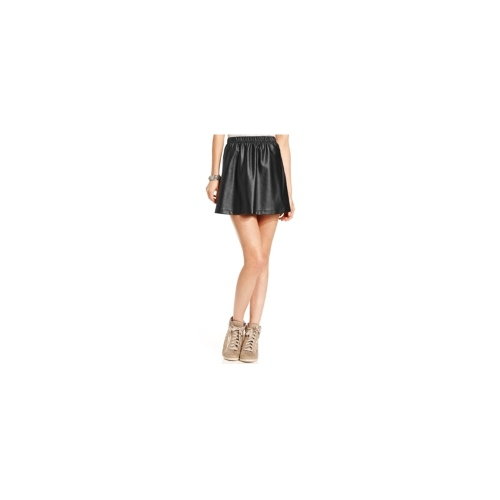 Pink Rose Juniors Skirt, Faux-Leather A-Line
