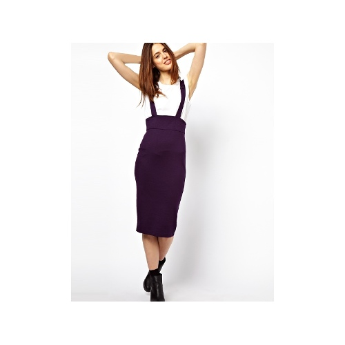 Wasp Pencil Skirt in Ponte with Braces