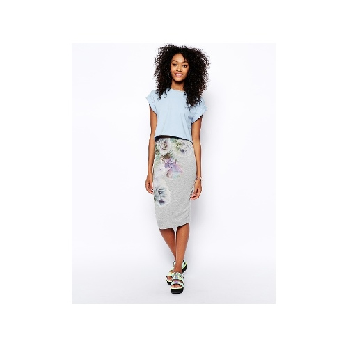 Pencil Skirt In Photographic Floral