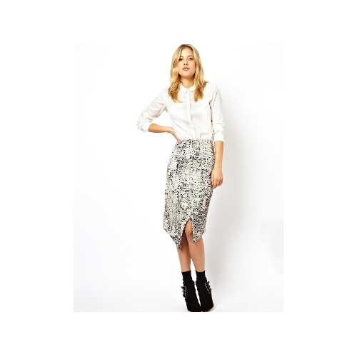 Pencil Skirt In Mono Abstract