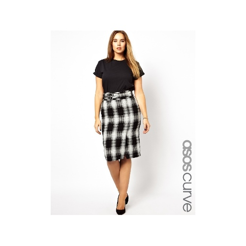 Pencil Skirt With High Waist In Check