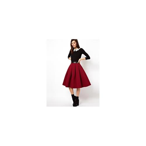 ASOS Premium Full Midi Skirt in Bonded Crepe - Berry £45.00