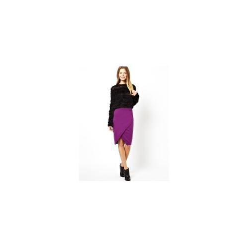 ASOS Pencil Skirt In Sweat With Wrap Detail - Purple £12.00