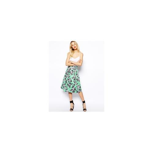 ASOS Quilted Midi Skirt In Floral Print - Mint £23.00