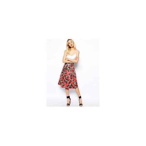 ASOS Quilted Midi Skirt In Floral Print - Pink £20.00