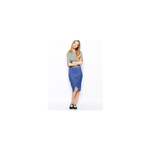 ASOS Pencil Skirt In Sweat With Wrap Detail - Navy £12.00