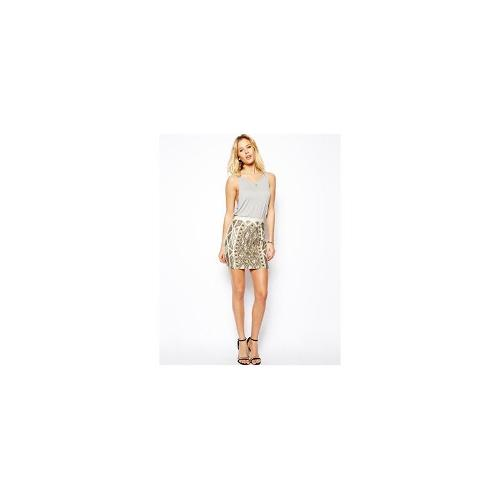 Needle & Thread Geo Sundown Mini Skirt - Chalk/gold