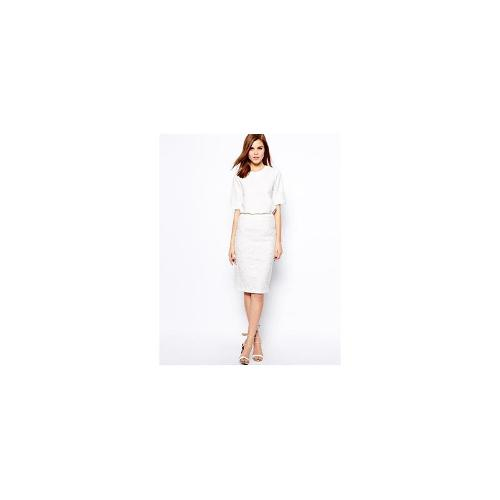 Warehouse Lace Pencil Skirt - White