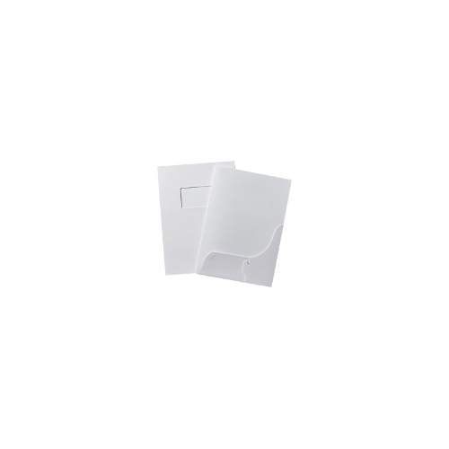 Marbig Presentation Folders with Window and Business Card Holder - Gloss White P