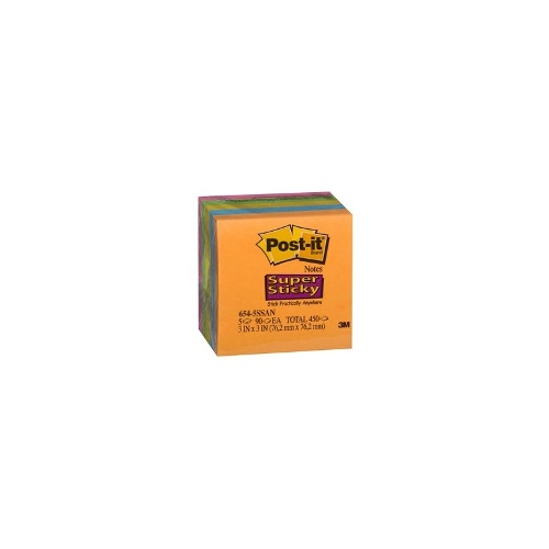 3M Post-It Super Sticky Notes 76x76mm Electric Glow 5 Pack