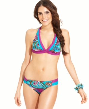 Becca Beach Swimsuit, Paisley-Print Ruched Brief Bottom Women's Swimsuit