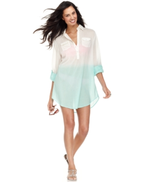 Raviya Cover Up, Long-Sleeve Dip-Dye Button-Front Tunic Women's Swimsuit