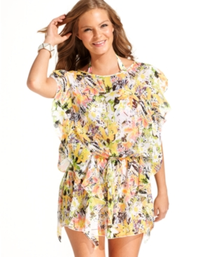 Jessica Simpson Cover Up, Flutter-Sleeve Tropical-Print Tunic Women's Swimsuit
