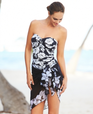 Anne Cole Cover Up, Sheer Floral-Print Pareo Women's Swimsuit