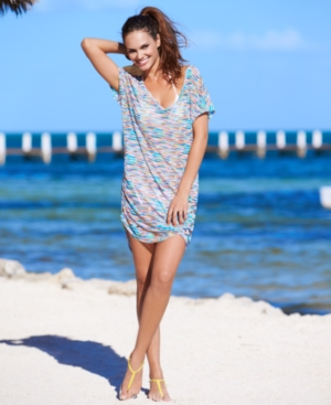 Anne Cole Cover Up, Short-Sleeve Printed Tunic Women's Swimsuit