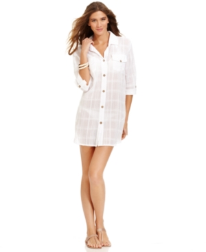 Dotti Cover Up, Roll-Tab-Sleeve Button-Down Shirtdress Women's Swimsuit