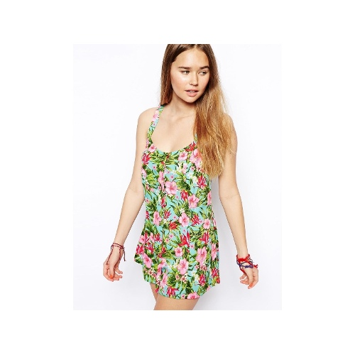 Tropical Print Strappy Beach Playsuit