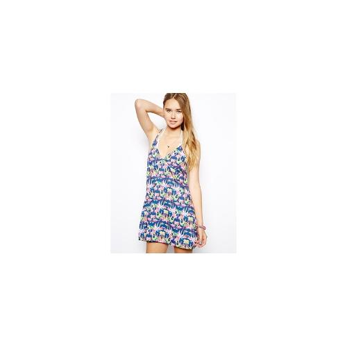 Playful Promises Palm Tree And Flamingo Print Strappy Racer Back Beach Dress - Water print