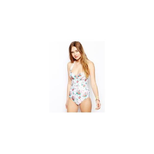 ASOS Light Floral Cupped Belted Swimsuit - Floral print