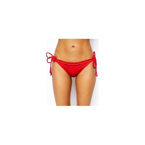 Pour Moi Carnival Ruffle Trim Tie Side Bikini Bottom - Chilli red