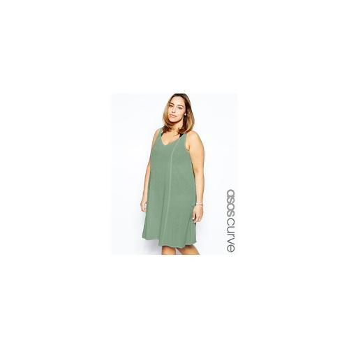 ASOS CURVE Exclusive Beach Swing Dress In Cheesecloth - Khaki £15.00