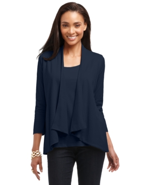 Charter Club Cardigan, Three-Quarter-Sleeve Draped Open Front