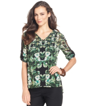 Ellen Tracy Top, Three-Quarter-Sleeve Printed Lace Blouse