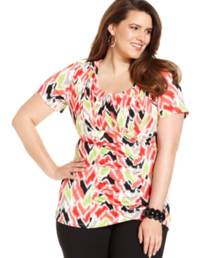 Alfani Plus Size Top, Short-Sleeve Printed Ruched