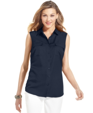 Jones New York Signature Top, Sleeveless Button-Front