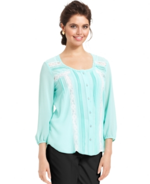 NY Collection Top, Three-Quarter-Sleeve Pleated Lace