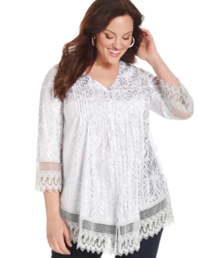 Alfani Plus Size Top, Three-Quarter-Sleeve Printed Lace