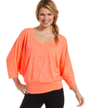 Ideology Top, Dolman-Sleeve Ombre Dip-Dye Banded