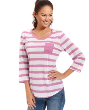 Style&co. Sport Top, Three-Quarter-Sleeve Striped