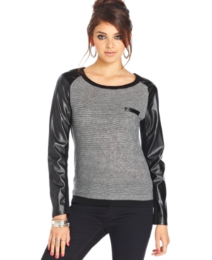 Teen Vogue Juniors Top, Long Faux-Leather Sleeve Mixed Media