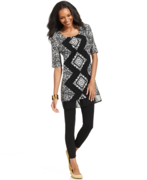 Style&co. Top, Short-Sleeve Printed Tunic