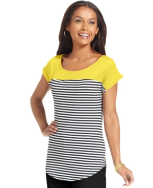 NY Collection Top, Short-Sleeve Striped Scoop-Neck