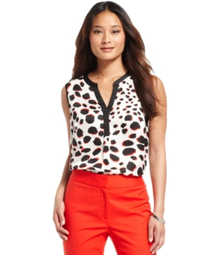 Nine West Blouse, Sleeveless Animal-Print Split-Neck