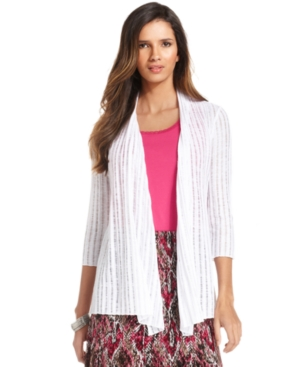 JM Collection Cardigan, Three-Quarter-Sleeve Open-Front Ribbed