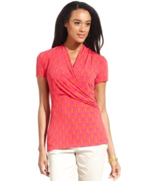 Charter Club Top, Short-Sleeve Printed Faux-Wrap