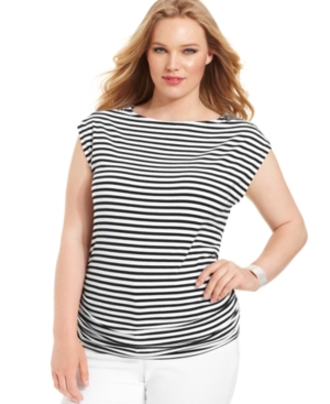 MICHAEL Michael Kors Plus Size Top, Cap-Sleeve Striped