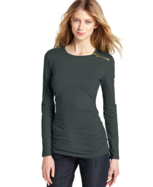 MICHAEL Michael Kors Top, Long-Sleeve Crewneck Zipper