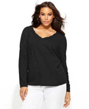 INC International Concepts Plus Size Top, Long-Sleeve V-Neck Tee