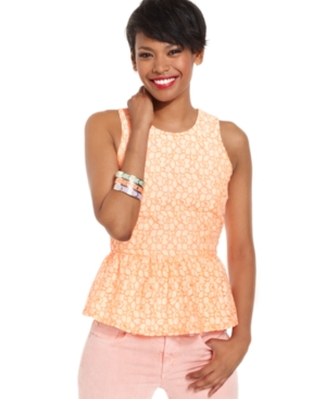 MM Couture Top, Sleeveless High-Neck Lace Ruffled-Peplum Tank