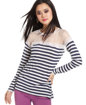 BCBGMAXAZRIA Top, Long-Sleeve High-Neck Striped Sheer-Lace