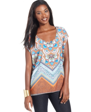 Style&co. Top, Short-Sleeve Printed Draped-Back