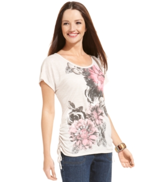 Style&co. Top, Short-Sleeve Floral-Print Ruched Tee