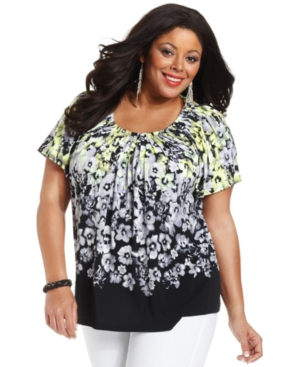 Style&co. Plus Size Top, Short-Sleeve Floral-Print Pleated-Neck